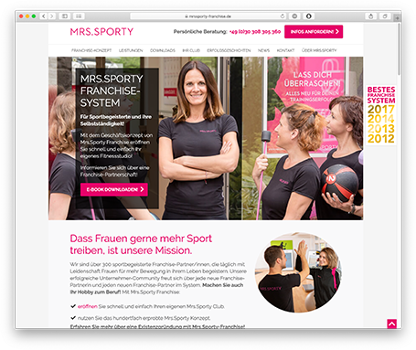 TYPO3 Projekt Mrs.Sporty Franchise